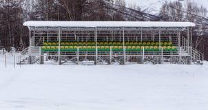 Tribune of a winter stadium Stock Image