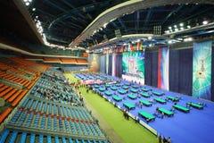 Tribunes en speelplaats bij VII Internationale Kop van het Kremlin van Biljarttoernooien Stock Afbeeldingen