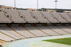 Tribunes of olympic stadium. Tribunes of abandoned olympic stadium in Barcelona, Spain Royalty Free Stock Image