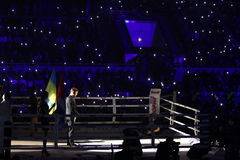 Tribunes of Palace of Sports in Kyiv during. KYIV, UKRAINE - DECEMBER 12, 2015: Tribunes of Palace of Sports in Kyiv during Evening of Boxing Stock Photography