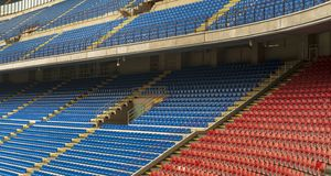 San Siro arena. At the tribunes of San Siro stadium. Milan, Italy stock photo