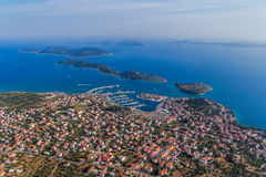 Tribunj aerial. Adriatic tourist destination Tribunj, Croatia.  Helicopter aerial shot Stock Photos
