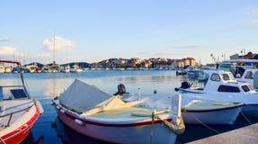 The Tribunj cityscape, Croatia. The promenade and cityscape of Tribunj at summer evening stock photo