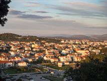 Tribunj, Croatia, Mediterranean sea village and marine port during sunset royalty free stock images