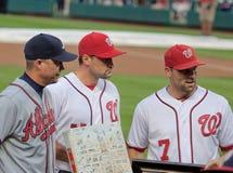 Tribut am Angehörig-Park zum Atlanta Braves-Spieler-Abklopfhammer Jones Stockbild