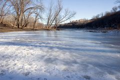 A tributary flowing into the Mississippi River in Minneapolis, M. Fort Snelling in Minneapolis, Minnesota overlooking the Mississippi River Stock Images