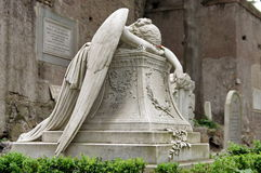 Tomb stone, Angel of Grief, landmark attraction in Rome, Italy. Funerary monument royalty free stock photography