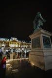 Tribute, die ausgebreitet werden, nachdem das Paris Paris-Angriffe af in Angriff nimmt Stockfotografie