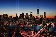 Tribute för WTC 9/11 i lampa Arkivbild