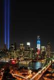Tribute för WTC 9/11 i lampa Royaltyfria Bilder