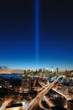 Tribute för WTC 9/11 i ljus antenn Royaltyfri Bild