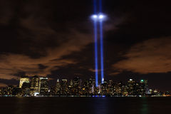 Tribute In Light - 9/11/2010. Image of the Tribute In Light display from 9/11/ 2010 in New York City with reflection on clouds Stock Images