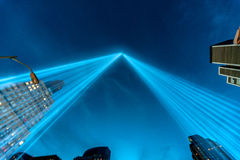 Tribute in Light beams of light Memorial. NYC, NY - September 11, 2010 - The Tribute in Light Memorial which has been carried out annualy since September 11 Royalty Free Stock Photography
