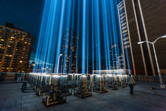 Tribute in Light beams of light Memorial. NYC, NY - September 11, 2010 - The Tribute in Light Memorial which has been carried out annualy since September 11 Stock Image