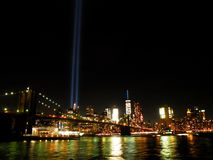 Tribute in Light 2016. Manhattan New York City skyline and tribute in light as seen from Brooklyn Bridge Park Stock Photos