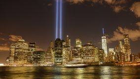 Tribute in light in Manhattan. Time lapse 4K video of the Tribute in Light to commemorate the September 11, view  of the Financial District, Manhattan, New York stock footage