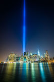 The Tribute in Light over the Manhattan Skyline at night, seen f Stock Images