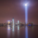 Tribute In Light Reflections from Jersey City. Beautiful night image of September 11th Tribute in Lights memorial, taken from Jersey City Royalty Free Stock Images