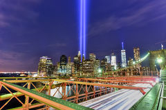 Tribute in Light - September 11. New York City Manhattan downtown skyline at night from the Brooklyn Bridge with the Tribute in Light in memory of September 11 Stock Images