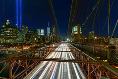 Tribute in Light - September 11. New York City Manhattan downtown skyline at night from the Brooklyn Bridge with the Tribute in Light in memory of September 11 Stock Photography