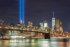 Tribute in Light - September 11. New York City Manhattan downtown skyline at night with the Tribute in Light in memory of September 11 Royalty Free Stock Photography