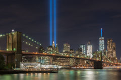 Tribute in Light - September 11. New York City Manhattan downtown skyline at night with the Tribute in Light in memory of September 11 Royalty Free Stock Photos