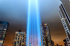 911 Tribute In Light Shining into the Sky Stock Photos