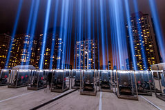 911 Tribute In Light Shining into the Sky. Here is one set of the two which make up the beams of light which have shown into the sky every year on September 11 Royalty Free Stock Image