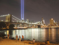 Tribute in light to honor victims of 9/11-2001. This was shot near Brooklyn Bridage of New York City on Sept. 11, 2010.The twin beams of light illuminated the stock photo