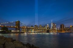 9/11 Tribute in Light. Viewed from Brooklyn Bridge Park Royalty Free Stock Image
