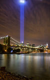 Tribute in Lights 2008. View of lower Manhattan and Brooklyn Bridge at night on September 11, 2008 Stock Photography