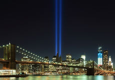 Tribute in Lights with Freedom tower and Brooklyn bridge. Stock Images