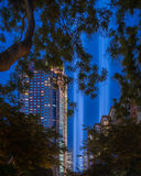 9-11 Tribute lights NYC - ExplorationVacation.net. New York City, USA - September 2, 2015: 9-11 Tribute Light test against a blue evening sky in New York City Royalty Free Stock Photography