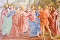 Famous Fresco the Tribute Money in the Brancacci Chapel in Flore Stock Image