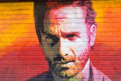 Tribute to the actor Andrew Lincoln in the personage of Rick Grimes, of the series of tv The Walking Dead. BARCELONA, SPAIN - SEP 2: Tribute to the actor Andrew royalty free stock photo