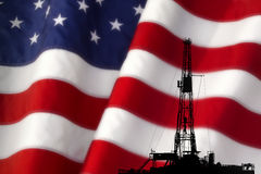 AMERICAN PETROLEUM OIL GAS ENERGY INDUSTRY. American Oil Petroleum Energy Gas Industry with Flag Concept royalty free stock photo