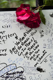 Tribute to Amy Winehouse. LONDON - JULY 27: Her fans pay tribute to Amy Winehouse in front of her house on Camden square, on July 27, 2011 in London. Amy Stock Image
