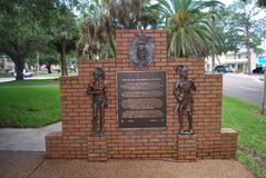 Tribute to the Calusa and Seminole Indians in Venice Florida. Monument to the American Indians that once inhabited south west Florida Royalty Free Stock Image