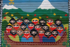 Tribute to the EZLN Zapatista guerrilla. Mural on a metal fence, a tribute to the EZLN Zapatista guerrilla. Photo taken on: December 1, 2009, on Barcelona Royalty Free Stock Photography