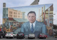 Tribute to Frank Rizzo a Mural in the Italian Market, South Philadelphia. Pictured is Tribute to Frank Rizzo, a mural of Mayor Rizzo in the Italian Market, South royalty free stock image