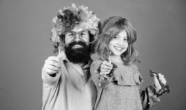 Tribute to fun dad. Easy simple ways be fun playful parent. How crazy is your father. Man bearded father and girl wear royalty free stock photos