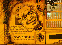 Tribute to Marquez. Gabriel Garcia Marquez writer is a true hero for Colombians. You can see homage to him everywhere Stock Images