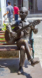 Tribute to Navarro. Statue for Navarro, famous musician, in Cartagena historic quarter, Colombia Stock Photography