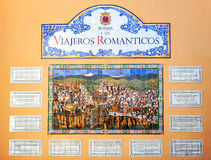 Tribute to the romantic travelers who visited Ronda, Malaga Province, Spain. Tile placed on a wall of the city in memory of the romantic travelers who visited Royalty Free Stock Photos