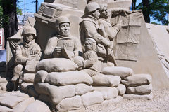Tribute to the Veterans, Sand Sculpture. Sand Sculpture at the Binnenhof to Tribute to the Dutch Veterans, The Hague, Netherlands royalty free stock photo