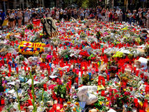 Tribute to the victims of Barcelona terrorist attack. Royalty Free Stock Photos