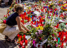 Tribute to the victims of Barcelona terrorist attack. Stock Images