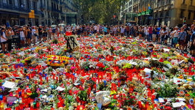 Tribute to the victims of Barcelona terrorist attack. Stock Photography