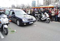 Tribute to victims of the plane crash. Hearse carrying the coffin of Polish president, who was killed in a plane crash in Russia (April 10, 2010 Royalty Free Stock Photos