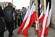 Tribute to victims of the plane crash. Flags with a black ribbon on the streets of Warsaw in memory of Polish President and the other victims of the plane crash Royalty Free Stock Photos